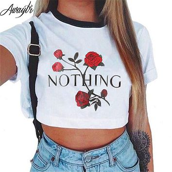 Awaytr Women's Summer Letter Printed Crop Top 2018 Short Sleeve Cotton T Shirts Brand New Casual Tees Cute Cropped Top
