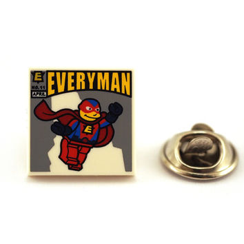 Everyday super hero, everyman, Tie Pin, Tie Tack Pin, Men's Tie Tacks, Tie Tac, Silver Tie Clip, Tie Clips Men, Wedding Clip, Tie Tack