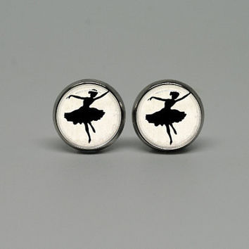 Silver Stud Post Earrings with Ballet