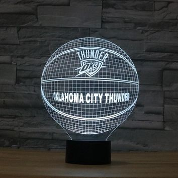 3D Effect Basketball OKLAHOMA CITY THUNDER Fan 7 Color Change Night Light Illusion Acrylic Touch Lamp Sleep Lamp Chrismas Gift