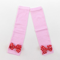 Baby girls Pink leg warmers with a  Pink polka dot bow, leg warmers, girls leg warmers, Holiday leg warmers
