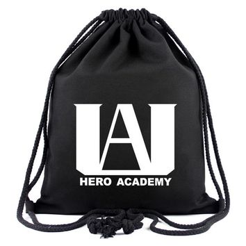Anime Backpack School kawaii cute Cartoon Drawstring Bag Boku no Hero Academia Academy Pouch Canvas Organizer Backpack Bags Boy Girl Gifts Travel Backpacks AT_60_4