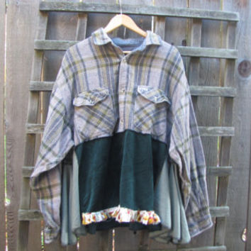 Flannel Mens Shirt Hippie Tunic Top/ Long Sleeve Upcycled Eco Blouse/ Lagenlook Asymmetrical Womens Plussize Shirt XL 1X