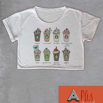 Starbucks Frappuccino Menu Crop Top Star Bucks Coffee Womens Short Sleeve T Shirt Freesize Cool Sexy Top