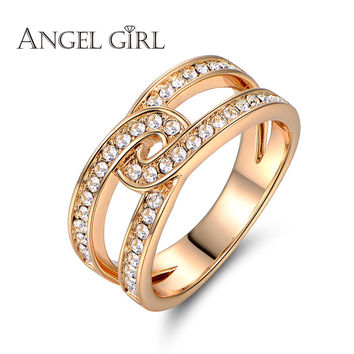Angel Girl 2016 new Unique Square Filigree Wedding Band Ring with high quality crystal Real Gold Plated Jewelry For Women