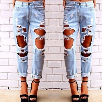 Women Fashion Vintage Style Torn Holes Denim Jeans Blue Pants Retro Pencil Long Frayed Ripped Pants = 1929799428