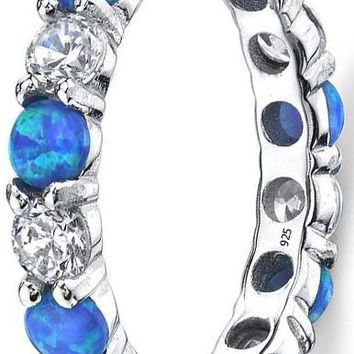 2.25 Carats Sterling Silver 925 Blue Fire Created Opal and Cubic Zirconia Eternity Ring Wedding Band 3.5mm