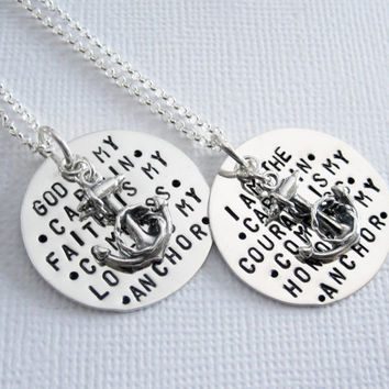 My Anchor - Personalized Jewelry - My Captain - My Compass - My Anchor - Sterling Silver Personalized Necklace