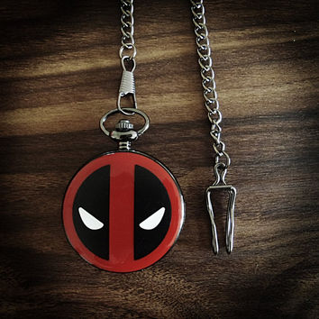 Deadpool Pocket Watch with Marvel Superhero comic book Vintage Inspired working decoration for men's waistcoat