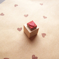 Tiny Heart Rubber Stamp Mini  Wood Mounted  by stampcouture