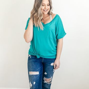 Lucca Pocket Tee In Jade