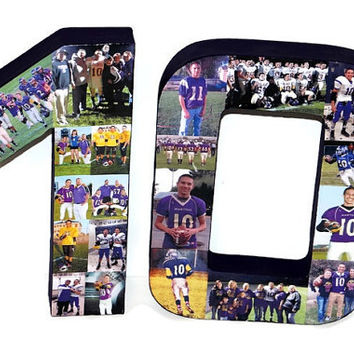 3D Number Photo Collage Two Digit Birthday Anniversary Party Senior Night Jersey Number Graduation Football, Soccer, Baseball, Basket Ball