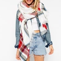 ASOS Lightweight Oversized Scarf In White Tartan Check
