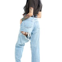 HAND-PICKED 4 U: Booty Rip Slashed Mom Jeans