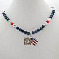 USA FLAG Home of the Brave Blue Dumortierite, White Howlite Red Coral Necklace