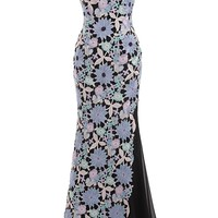 Sunvary Vintage Embroidery Knitting Flower Spaghetti Strap Cotton Beaded Mermaid Evening Prom Dresses