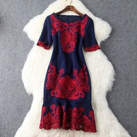 Hollow Out Embroidery Fishtail Dress