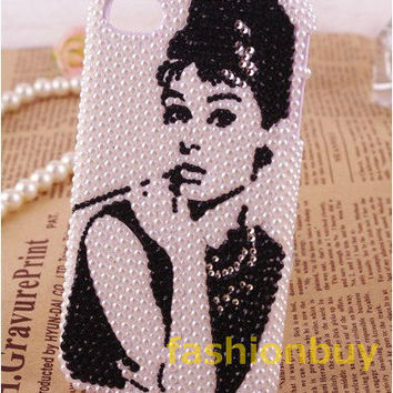 Audrey Hepburn Pearl iPhone case 4/4S case iPhone 5 cases in handmade