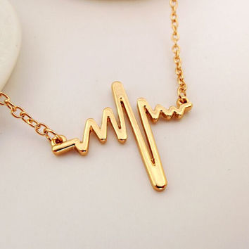 Valentine's Day Heartbeat Cardiograph Pendant Necklace Gold or Silver Plated 17""