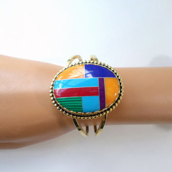 Large Gold Cuff Multicolor Bangle Bracelet Purple Aqua Red Green Gold Large Oval Clamper Bracelet Small Wrist Vintage Bangle Jewelry