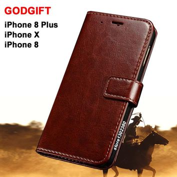 Godgift For iPhone 8 Plus case leather Luxucy flip Pu cover for iPhone x case Crazy horse Coque For iPhone8/Plus For iphonex