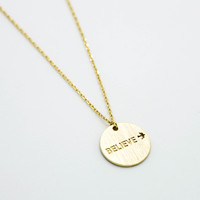 Belive disc necklace