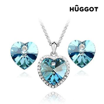 Hûggot Cinderella Rhodium-Plated Set: Pendant and Earrings with Zircons (45 cm) Created with Swarovski®Crystals (45 cm)