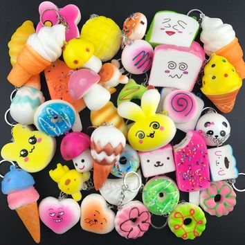 10 PCS Random Squishy Panda Bread Ice Cream Slow Rising Cute Phone Straps Cake Buns Pendant Toy Kid Squeeze Scented Charms