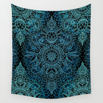 Black & Aqua Protea Doodle Pattern Wall Tapestry by Micklyn