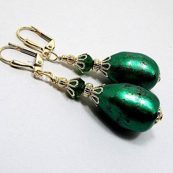 Metallic Green Earrings, Large Baroque Teardrop Earrings, Gold Plated, Made with Vintage Lucite Beads, Drop Earrings, Lever Back Hook