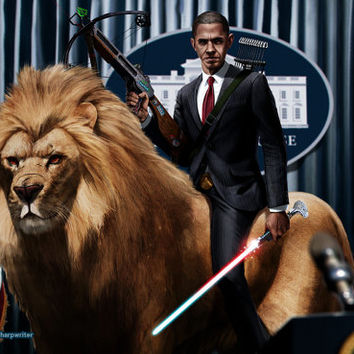 Obama Riding a Lion HQ 11x17 Print by sharpwriter on Etsy