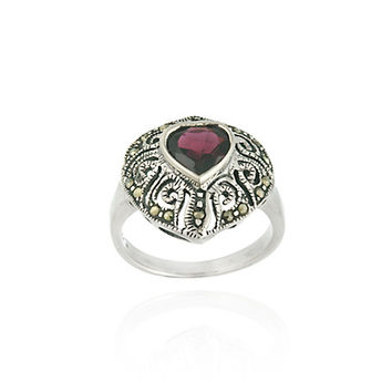 Sterling Silver Marcasite and Garnet Filigree Heart Ring Size 7