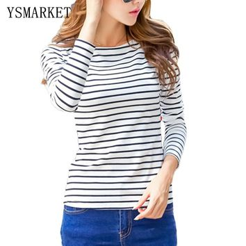 2018 Spring New Women T-Shirt Stripe Printed Loose Base Casual Long Sleeve O-Neck Tees Tops Slim Cotton Bottoming Shirts H1801
