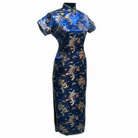 Navy Blue Traditional Chinese Clothing Women's Satin Long Cheongsam Qipao Dress Plus Size S M L XL XXL XXXL 4XL 5XL 6XL J3093