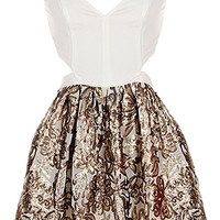 Foiled Flowers Dress | Black Gold Brocade Sequin Cutout Dress | RicketyRack.com