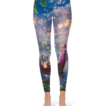 Tangled Disney Fine Art Painting Rapunzel - Leggings in XS-3XL -  Sports or Fleece Fabric Leggins - Yoga, Gym, Thick Winter Gym Yoga 000629