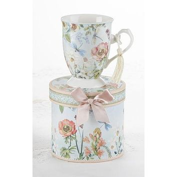 Gift Boxed Porcelain Mug with Tassel - Dragonfly