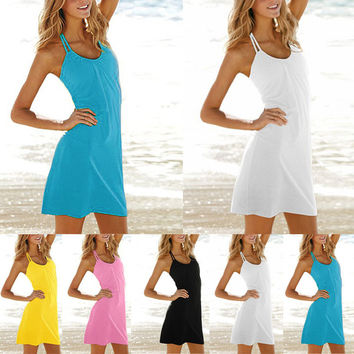 High Quality Sexy Women Halterneck Sleeveless Backless Strap Beach Mini Dress Summer Sundress