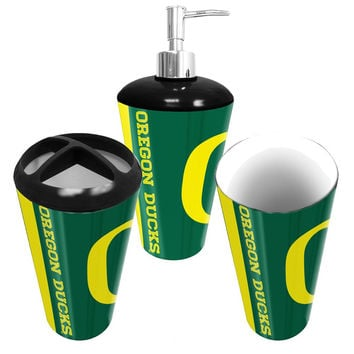 """Oregon Ducks NCAA Bath Tumbler, Toothbrush Holder & Soap Pump (3pc Set)"""