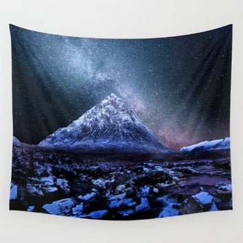 Milky Way Mountain Wall Tapestry by 2sweet4words Designs