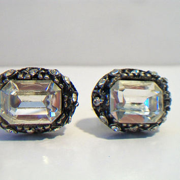 Vintage Estate Bold Silver Tone  Gray and black Clear Glass Faceted Emerald Cut Stone Retro Fathers Day For Him
