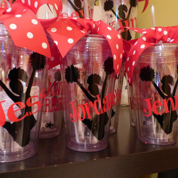 Personalized Cheerleader Tumblers  with straw by GetItPersonalized