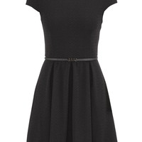 Patterned Short Sleeve Dress With Belt - Black