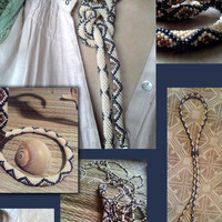 Beaded Crochet necklace The Earth Snake
