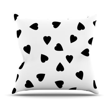 "Suzanne Carter ""Hearts Black"" White Outdoor Throw Pillow"