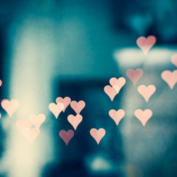 """Love Abstract Photography, heart bokeh sparkle lights print teal blue pink turquoise dark aqua peach cream, sparkly wall, """"Once Upon a Time"""""""