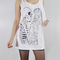 SKULL KISS GIRL Skull Skeleton Death Zombie Gothic by punkalife