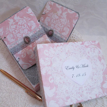 Wedding Vow Book Set - Pink and Gray Damask -with Lace and Ribbon accents- Matching Keepsake Box