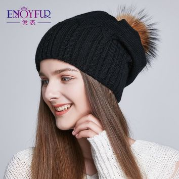e479ed3eabe ENJOYFUR Thick Winter Hats For Women Raccoon Fur Pompom Caps Fas. Item  Type Skullies   Beanies ...