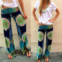 Floral Tribal Wide Leg Trousers Baggy Pants Women Yoga Boho Elastic High Waist = 1933348356